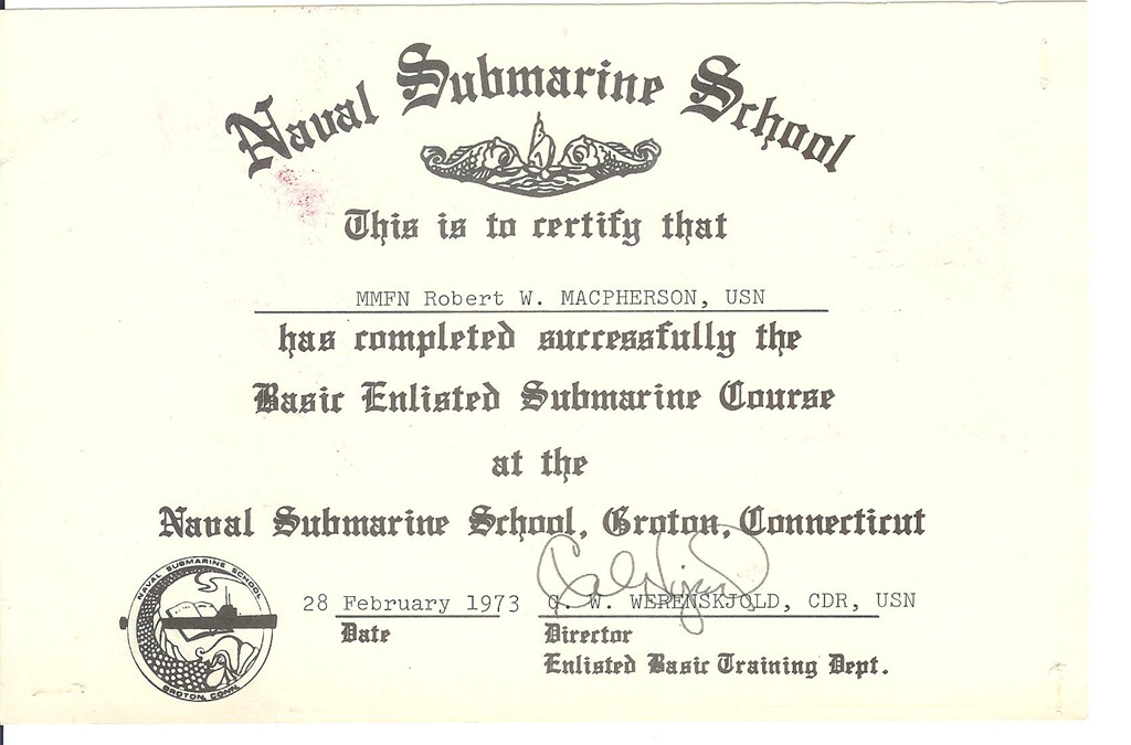 Sub SchoolGraduation Certificate  ThresherPermit Class Nuclear