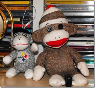 Sock Monkey and New Friend