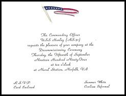 USS Hunley Decom Invite 1994