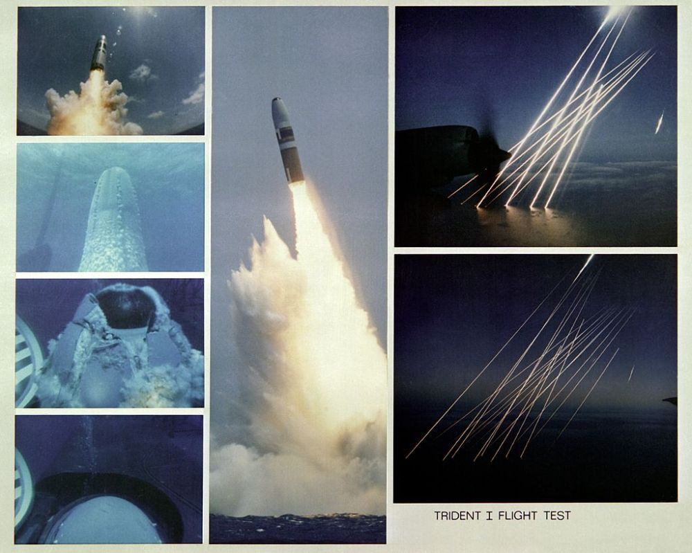 A montage of seven views showing parts of the launching of a Trident I C-4 missile from the submerged nuclear-powered strategic missile submarine Francis Scott Key (SSBN-657) and the Trident's re-entry bodies as they plunge into the earth's atmosphere and then into the Atlantic Ocean.